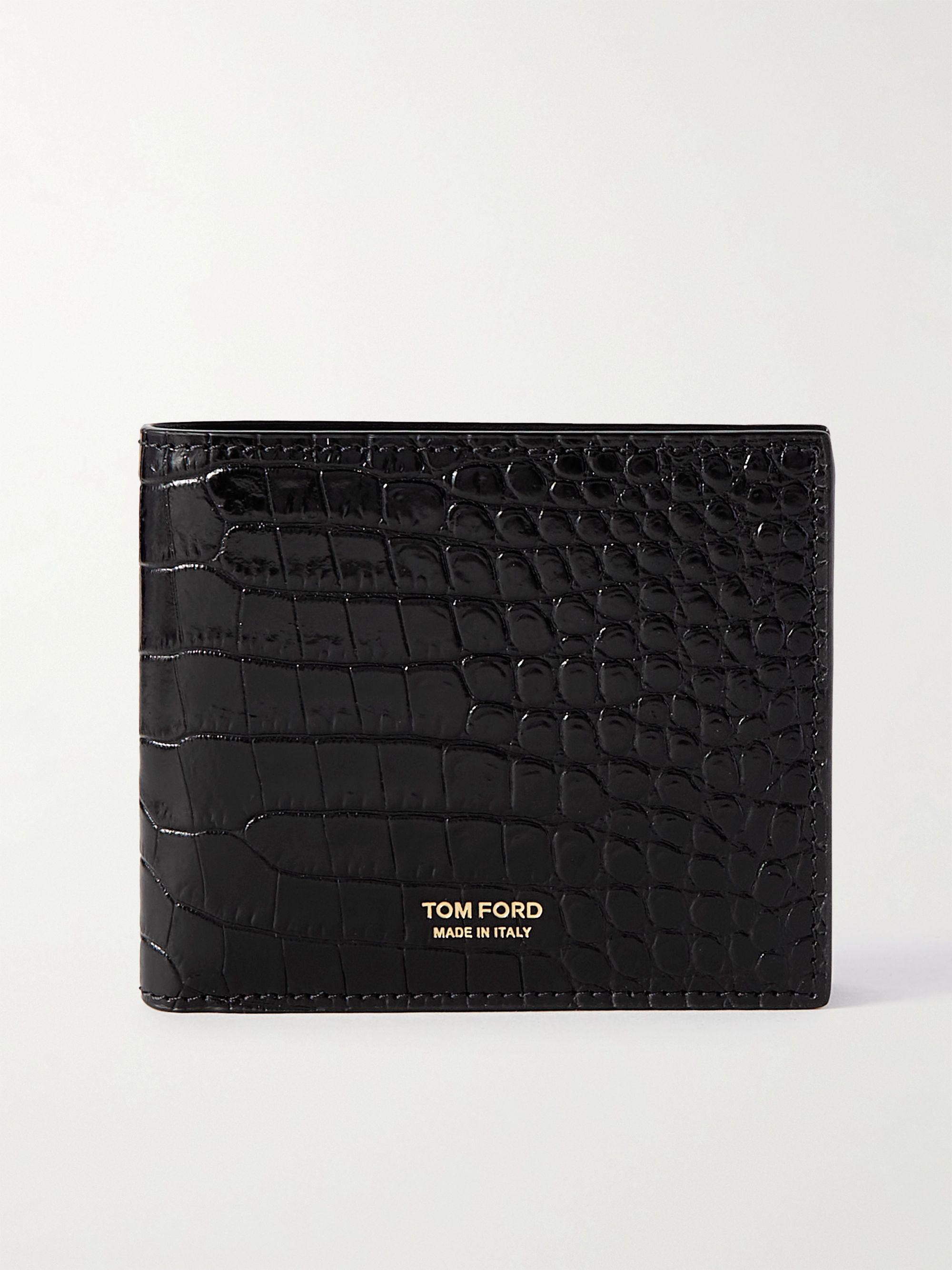 톰 포드 반지갑 Tom Ford T-Line Croc-Effect Leather Billfold Wallet,Black