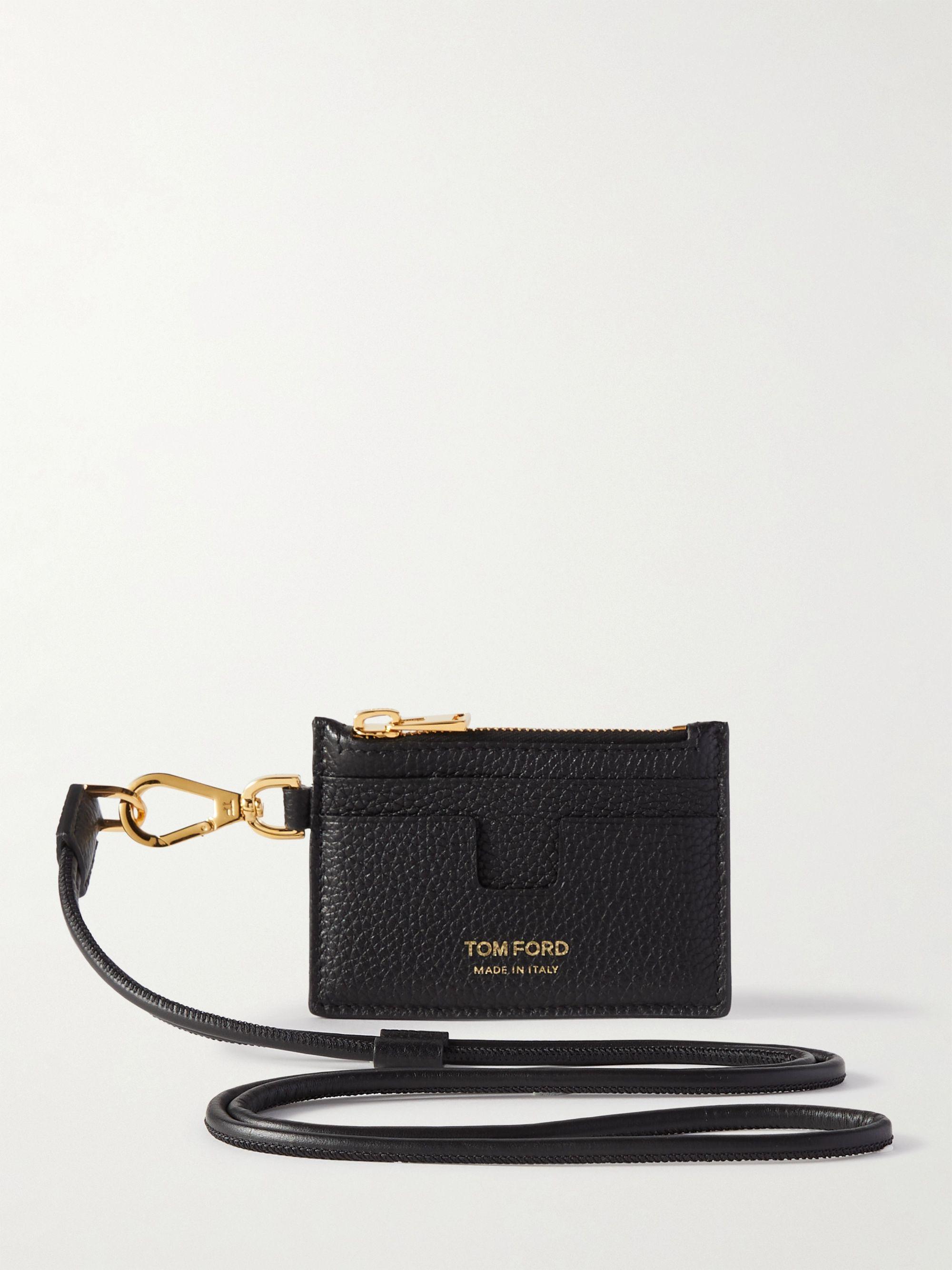 톰 포드 카드 지갑 Tom Ford Leather Zipped Cardholder with Lanyard,Black