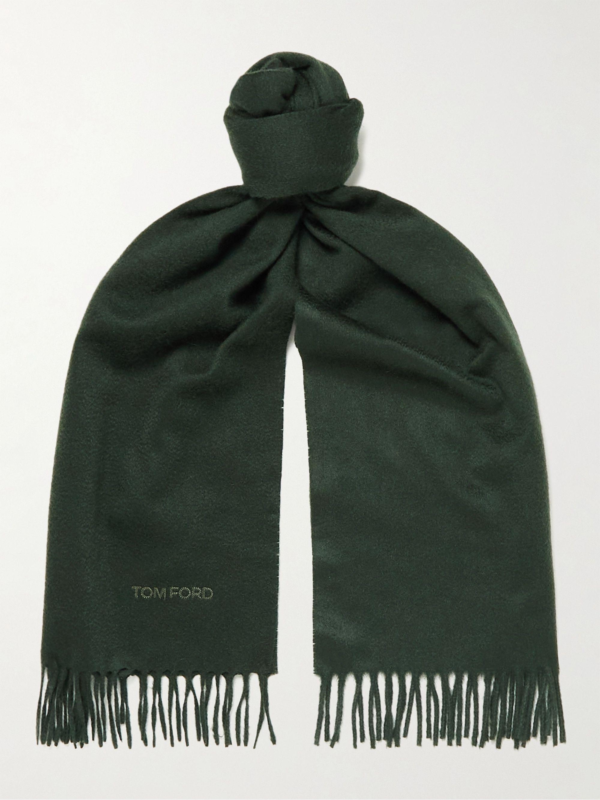 톰 포드 스카프 Tom Ford Logo-Embroidered Fringed Cashmere Scarf,Green