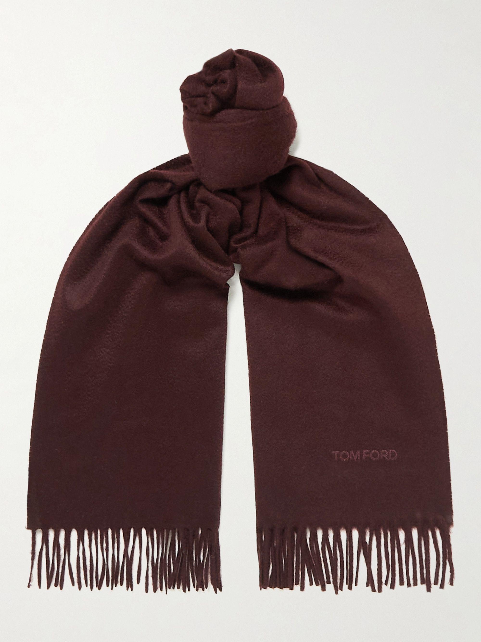 톰 포드 스카프 Tom Ford Logo-Embroidered Fringed Cashmere Scarf,Burgundy