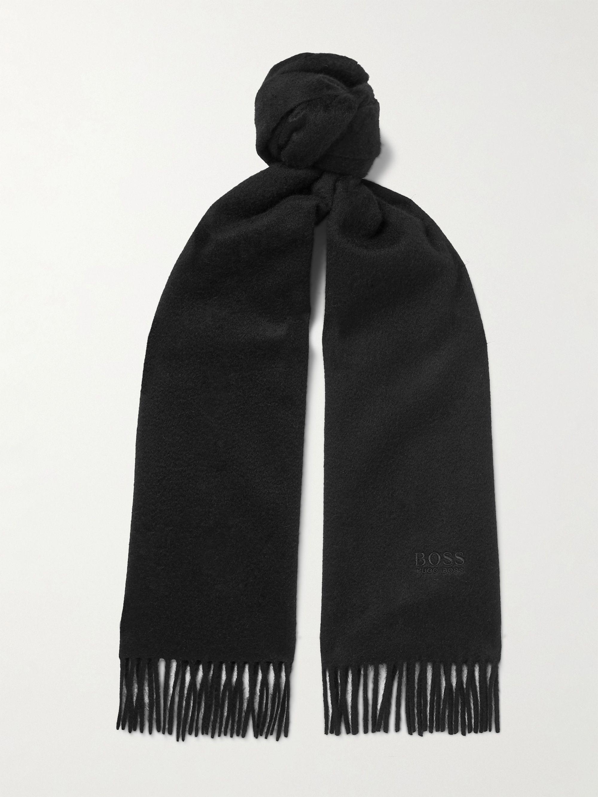 휴고 보스 스카프 Hugo Boss Logo-Embroidered Fringed Cashmere Scarf,Black