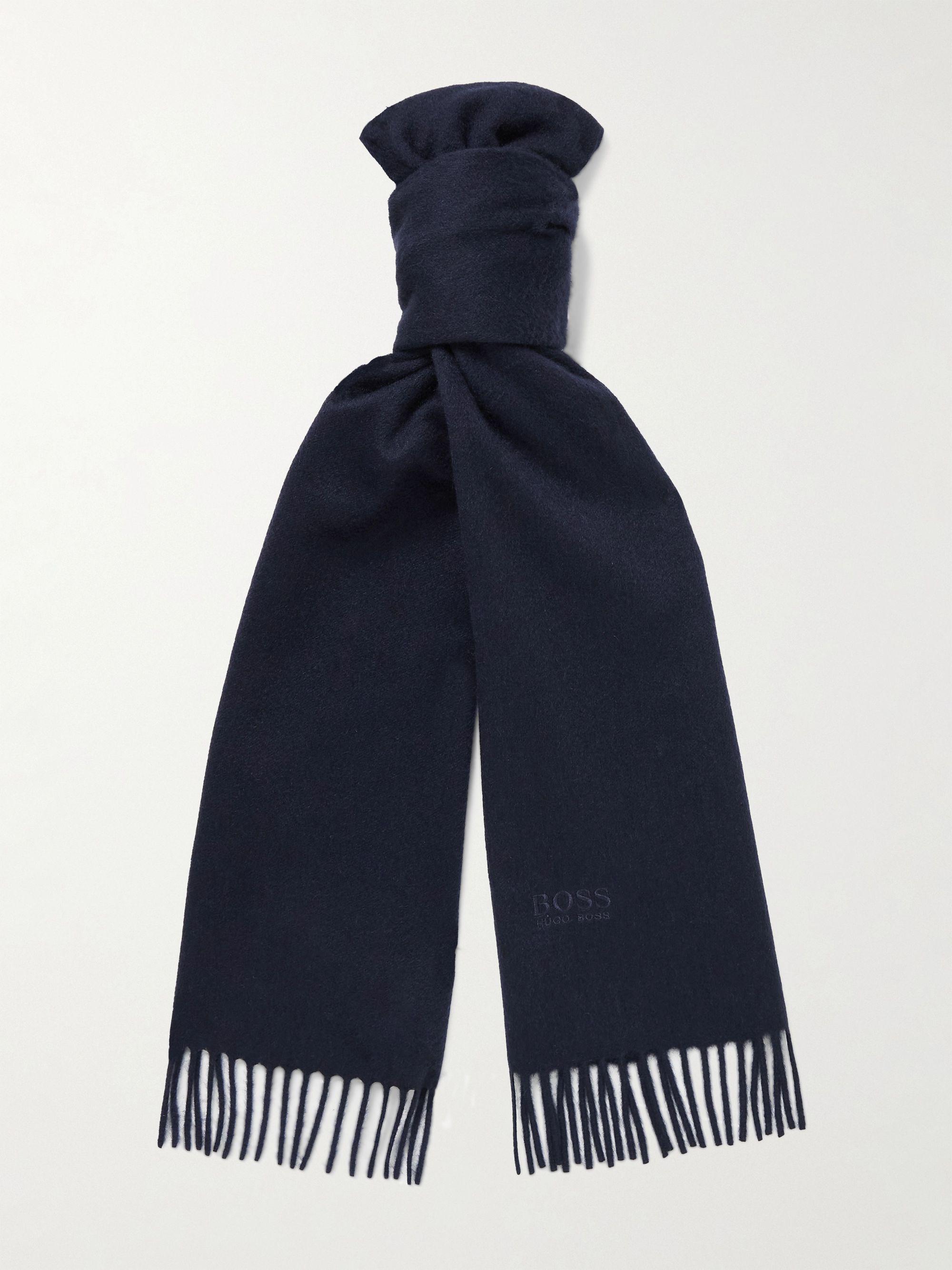 휴고 보스 스카프 Hugo Boss Logo-Embroidered Fringed Cashmere Scarf,Navy