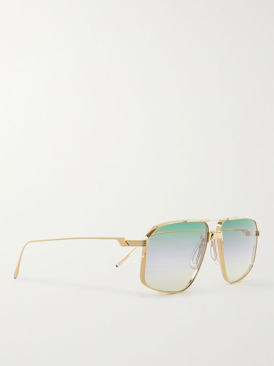 JACQUES MARIE MAGE + George Cortina Jagger Aviator-Style Gold-Tone Sunglasses