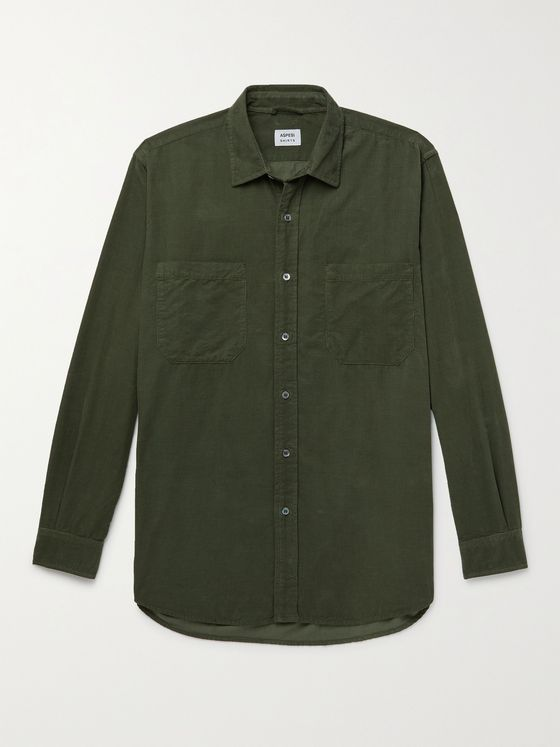 ASPESI Garment-Dyed Cotton-Corduroy Shirt