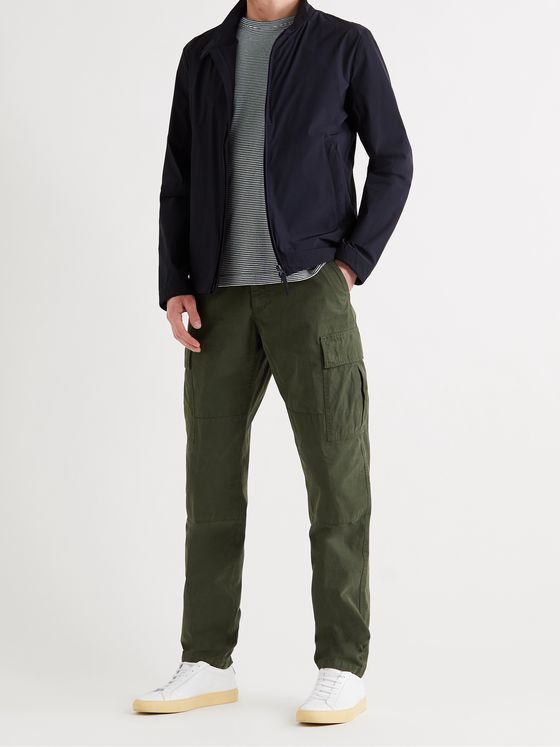 ASPESI Tapered Garment-Dyed Cotton-Gabardine Cargo Trousers
