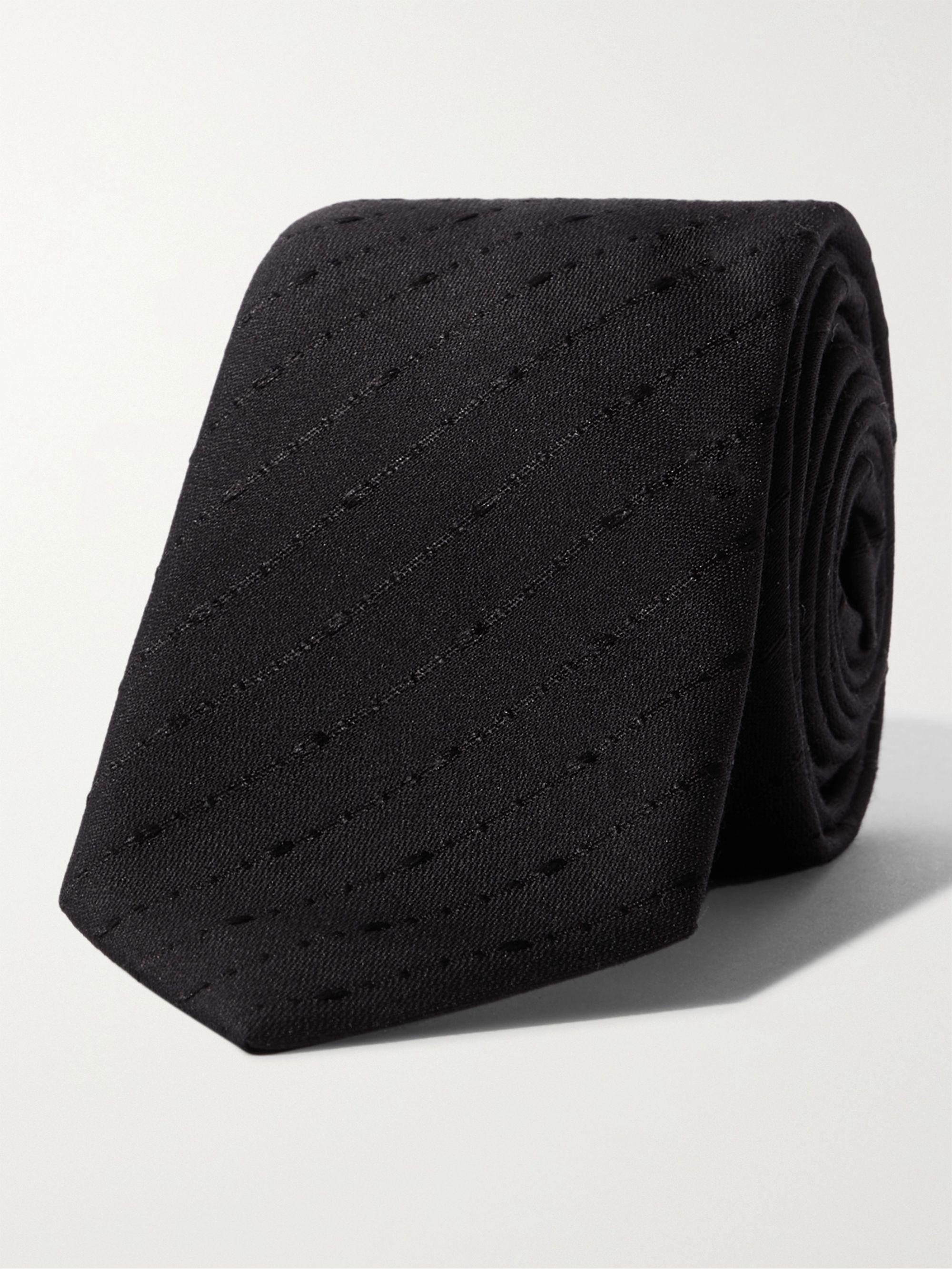 생 로랑 넥타이 Saint Laurent 6cm Fil Coupe Silk and Wool-Blend Tie,Black