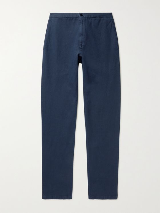 BOGLIOLI Slim-Fit Stretch Cotton and Linen-Blend Twill Trousers
