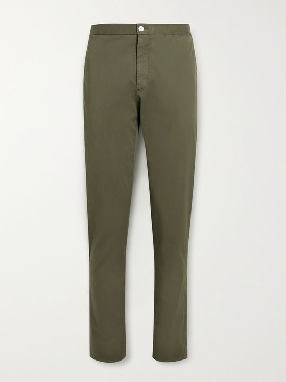 BOGLIOLI Slim-Fit Garment-Dyed Stretch-Cotton Twill Suit Trousers