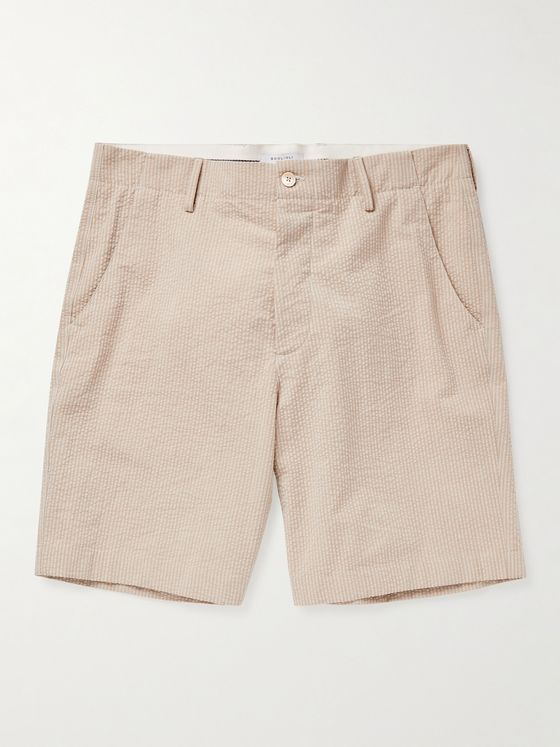 BOGLIOLI Striped Cotton-Seersucker Shorts