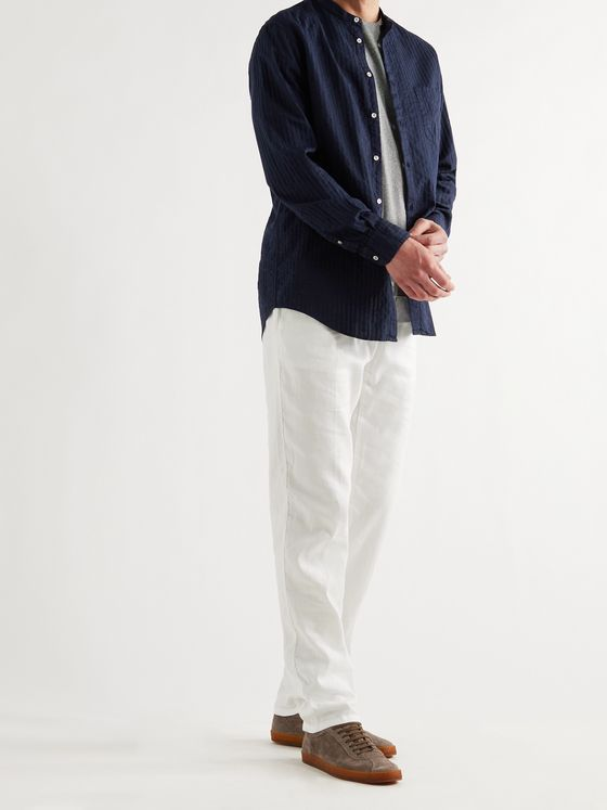 MASSIMO ALBA Grandad-Collar Cotton-Seersucker Shirt