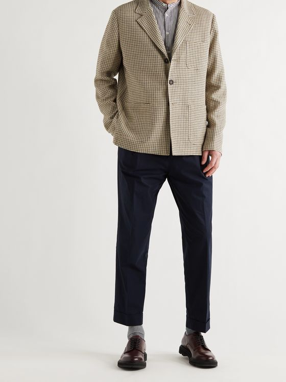 MASSIMO ALBA Baglietto Checked Wool, Linen and Cotton-Blend Blazer