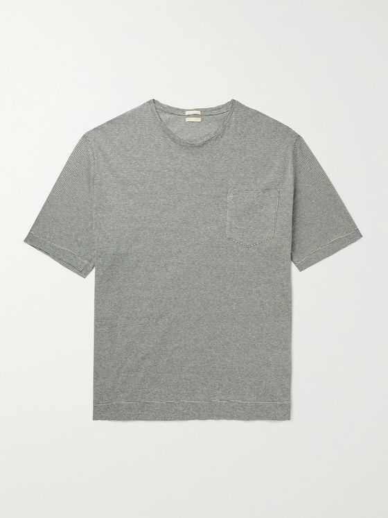 MASSIMO ALBA Striped Cotton and Linen-Blend T-Shirt