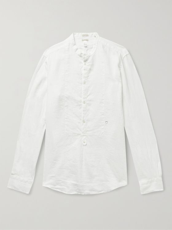 MASSIMO ALBA Kos Grandad-Collar Garment-Dyed Linen Half-Placket Shirt