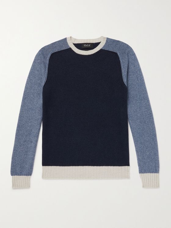 HOWLIN' Colour-Block Wool and Cotton-Blend Sweater