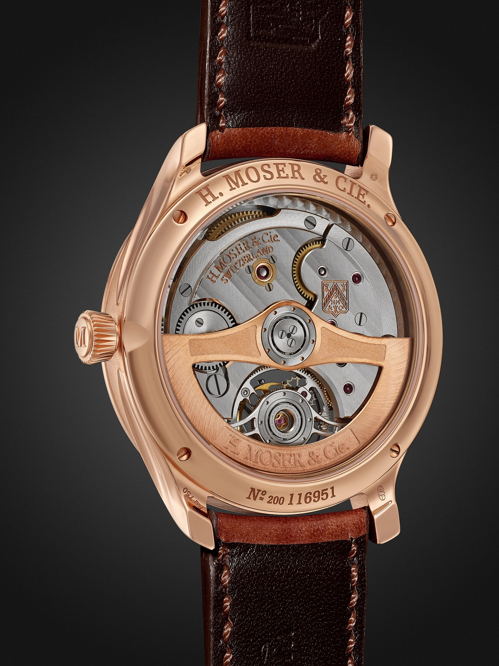 H. MOSER & CIE. Endeavour Tourbillion Automatic 40mm 18-Karat Red Gold and Leather Watch, Ref. No. 1804-0401