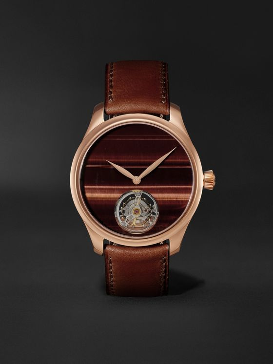 H. MOSER & CIE. Endeavour Tourbillion Ox's Eye Automatic 40mm 18-Karat Red Gold and Leather Watch, Ref. No. 1804-0401