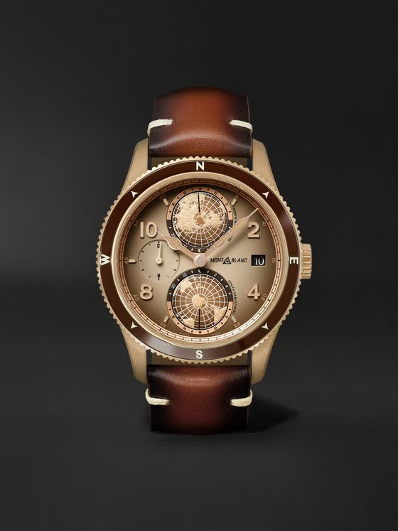 MONTBLANC 1858 Geosphere Limited Edition Automatic 42mm Bronze and Leather Watch, Ref. No. 128504