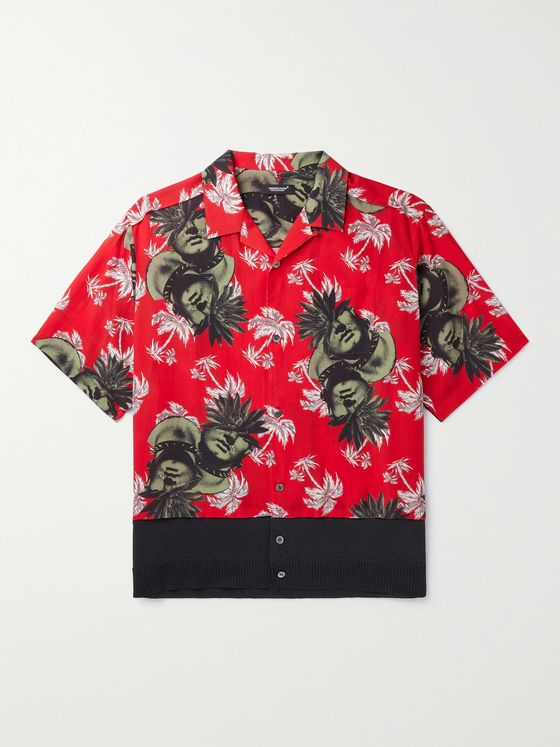 UNDERCOVER Camp-Collar Printed Voile and Stretch-Knit Shirt