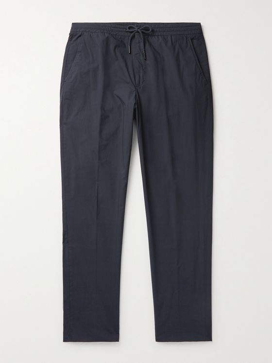 ERMENEGILDO ZEGNA Telavela Tapered Stretch-Cotton Drawstring Trousers
