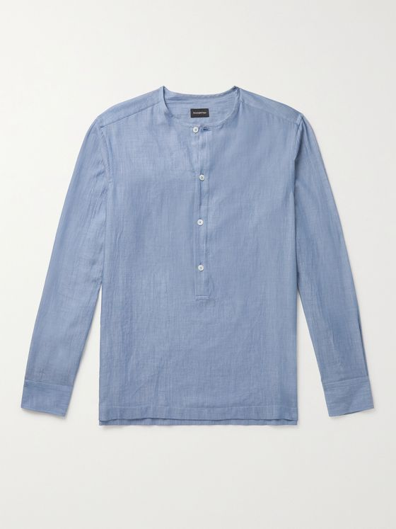 ERMENEGILDO ZEGNA Cotton-Chambray Henley Shirt
