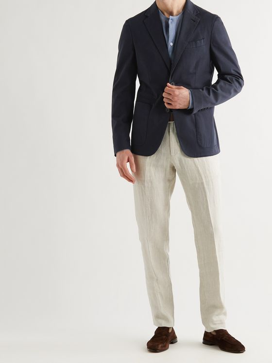 ERMENEGILDO ZEGNA Slim-Fit Garment-Dyed Stretch Cotton and Silk-Blend Blazer