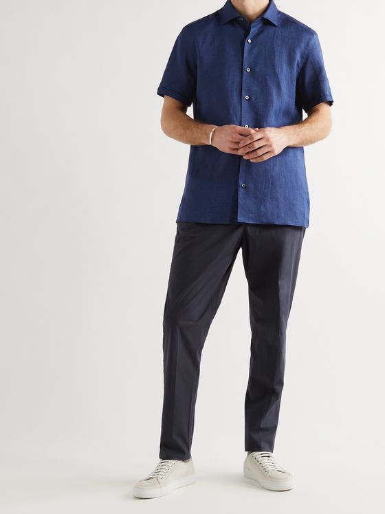 ERMENEGILDO ZEGNA Button-Down Collar Linen Shirt