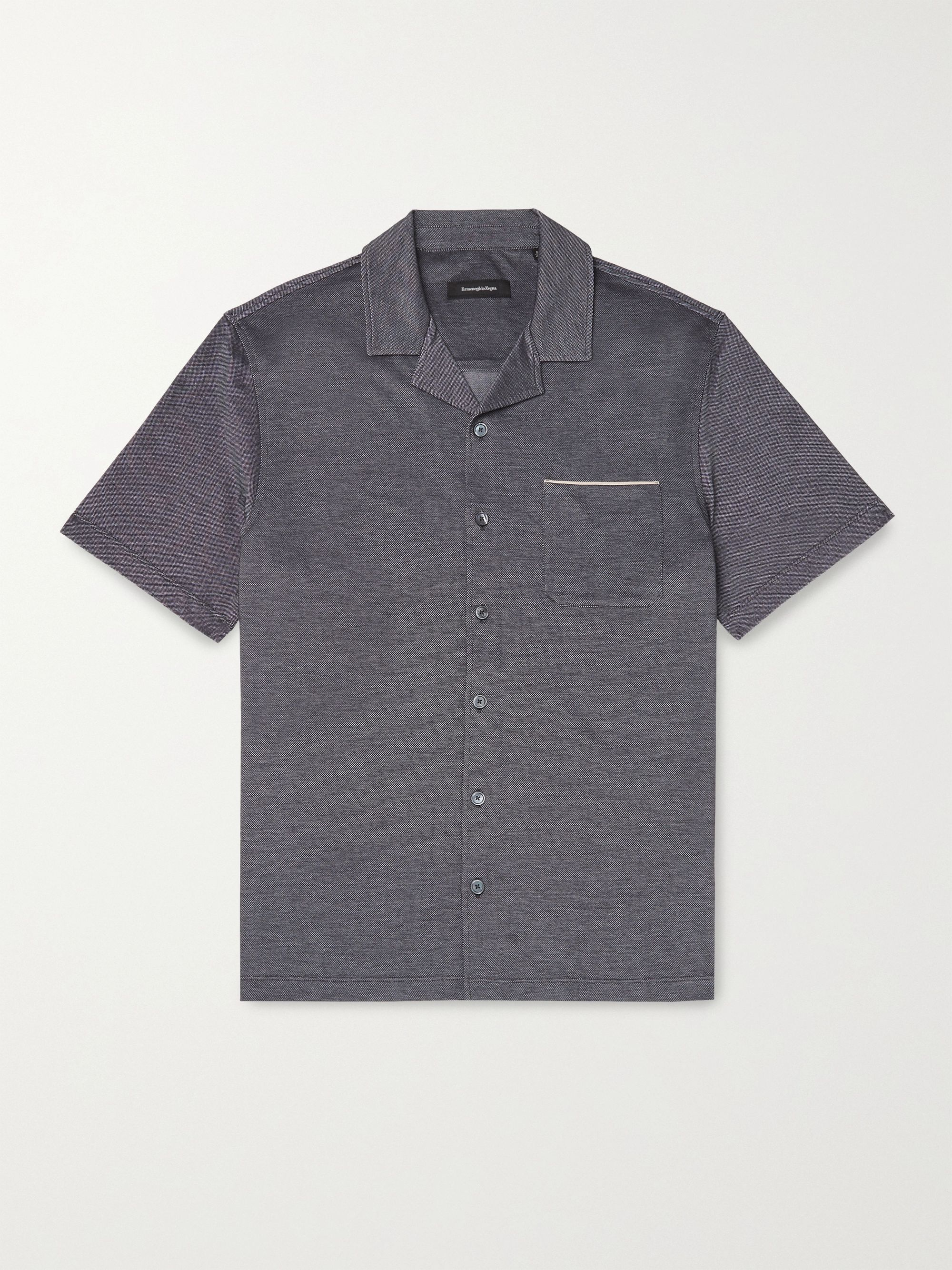ERMENEGILDO ZEGNA Camp-Collar Cotton-Piqué Shirt