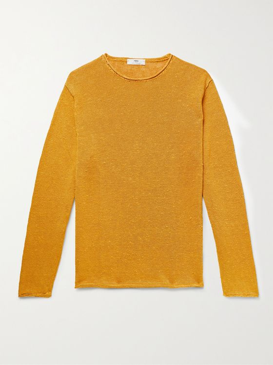 INIS MEÁIN Slub Linen and Silk-Blend Sweater
