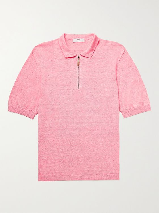INIS MEÁIN Mélange Linen and Cotton-Blend Half-Zip Polo Shirt