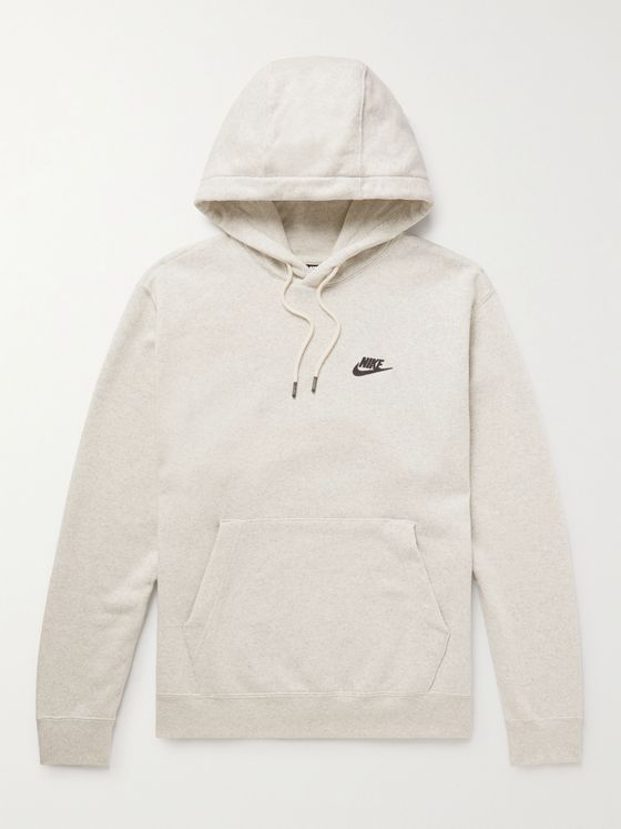 NIKE Logo-Appliquéd Fleece-Back Cotton-Blend Jersey Hoodie