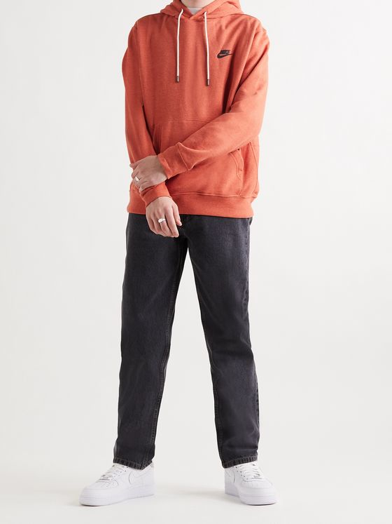 NIKE Logo-Print Mélange Fleece-Back Cotton-Blend Jersey Hoodie