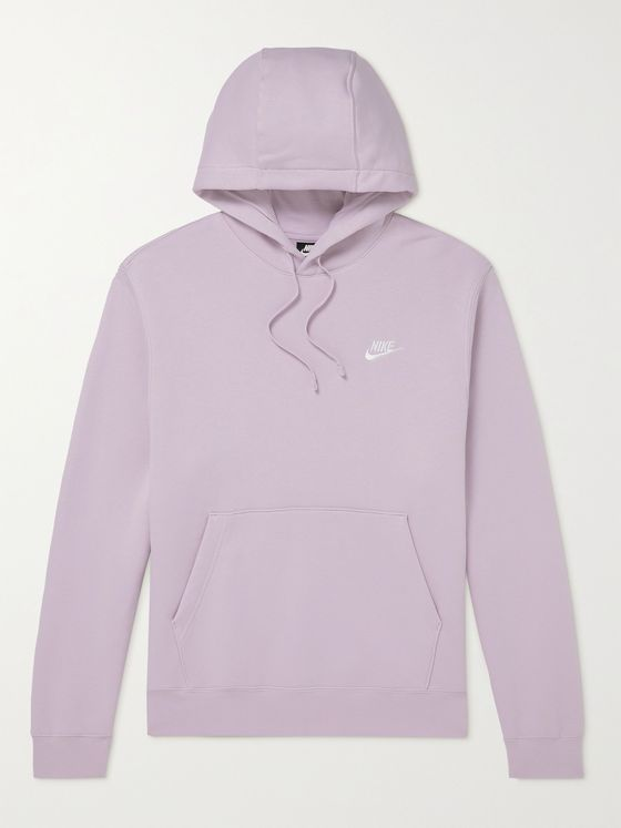 NIKE Sportswear Club Logo-Embroidered Fleece-Back Cotton-Blend Jersey Hoodie