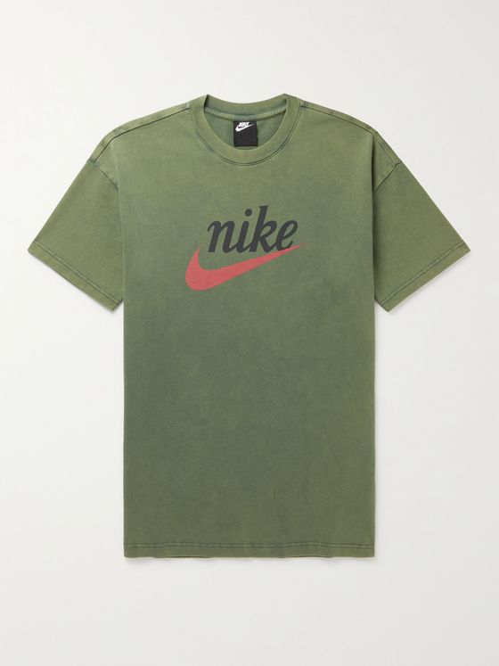 NIKE Logo-Print Garment-Dyed Cotton-Jersey T-Shirt