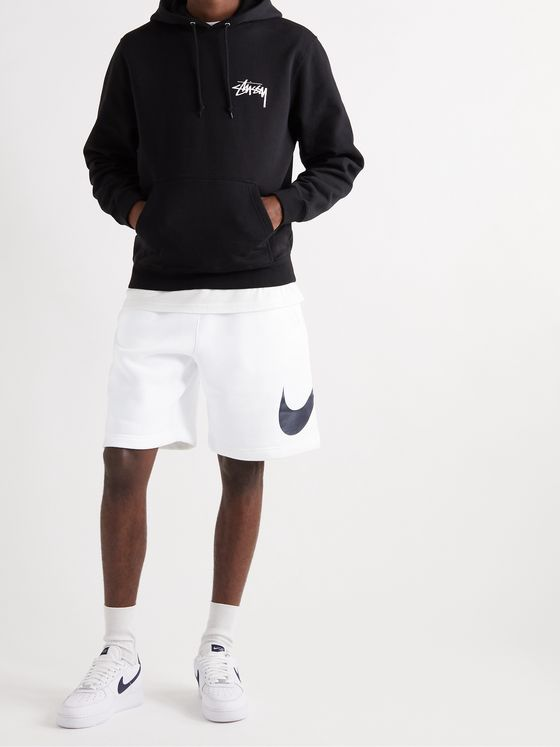 NIKE Logo-Print Fleece-Back Cotton-Blend Jersey Shorts
