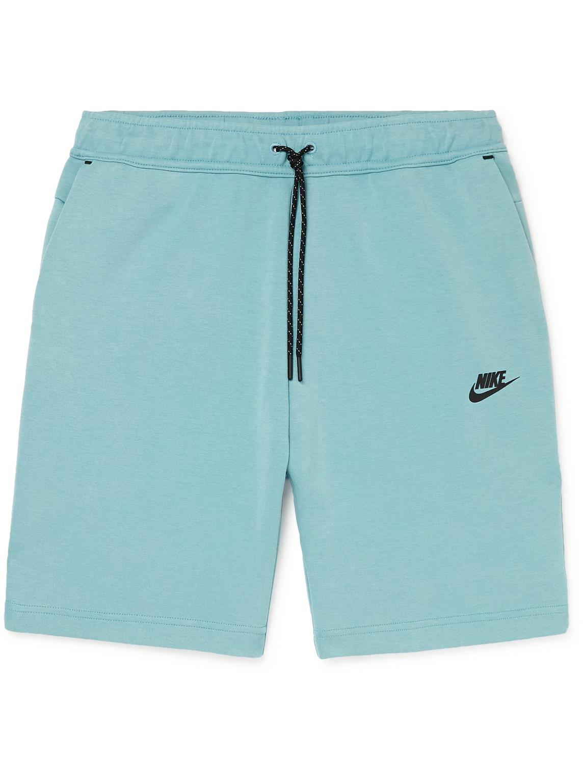 Nike Sportswear Cotton-blend Tech Fleece Drawstring Shorts In Blue