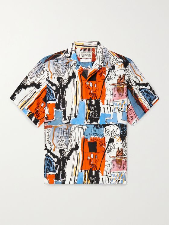 WACKO MARIA + Jean-Michel Basquiat Camp-Collar Printed Woven Shirt