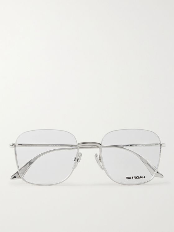 BALENCIAGA Square-Frame Silver-Tone Optical Glasses