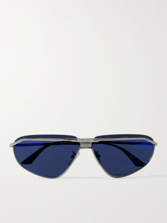BALENCIAGA Rectangle-Frame Logo-Engraved Ruthenium Sunglasses