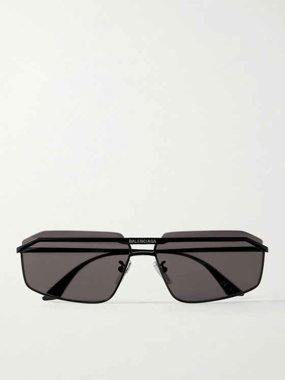 BALENCIAGA Rectangle-Frame Logo-Detailed Metal Sunglasses