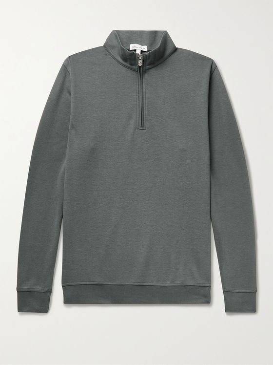PETER MILLAR Crown Mélange Stretch Cotton and Modal-Blend Half-Zip Sweatshirt