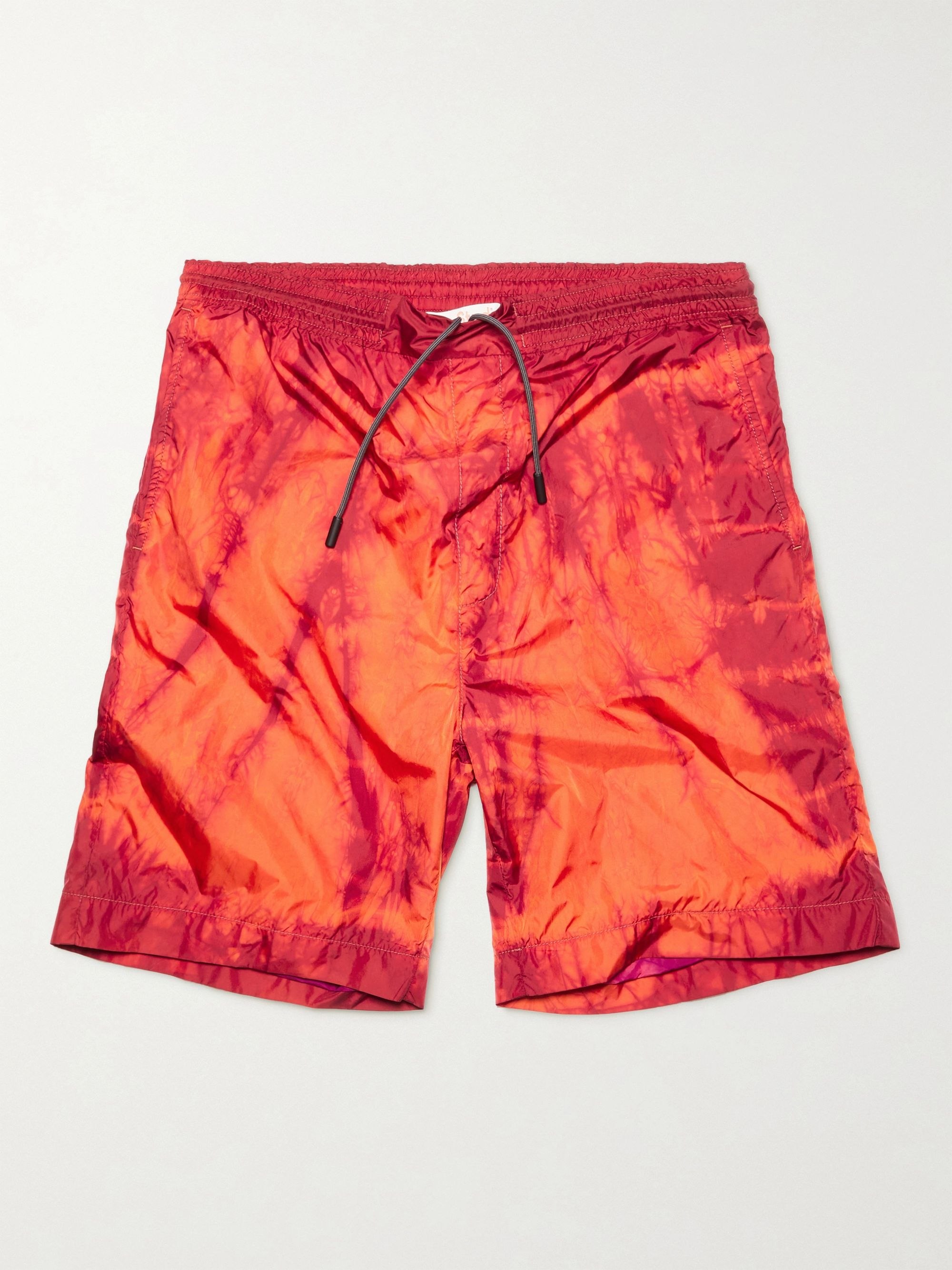 아크네 스튜디오 Acne Studios Ripley Wide-Leg Tie-Dyed Nylon Shorts,Red