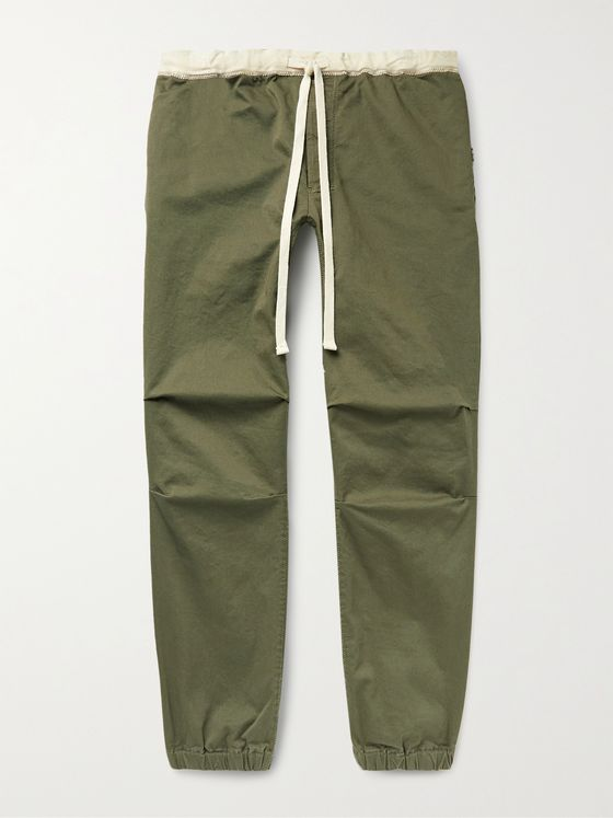BEAMS PLUS Gym Tapered Stretch-Cotton Twill Drawstring Trousers