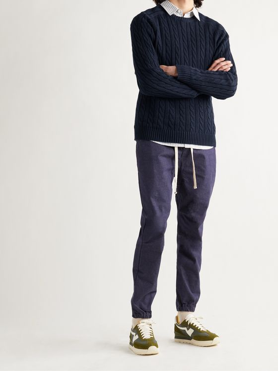 BEAMS PLUS Cable-Knit Cotton and Hemp-Blend Sweater