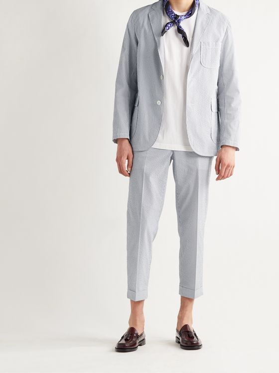 BEAMS PLUS Ivy Slim-Fit Cropped Striped COOLMAX Seersucker Trousers