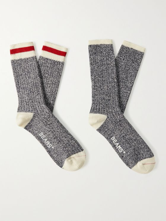 BEAMS PLUS Two-Pack Striped Mélange Cotton-Blend Socks