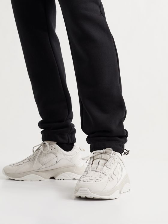AMIRI Bone Runner Leather and Suede-Trimmed Mesh Sneakers