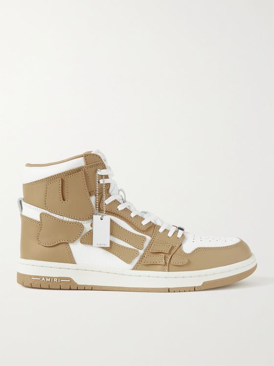 AMIRI Skel-Top Colour-Block Leather High-Top Sneakers