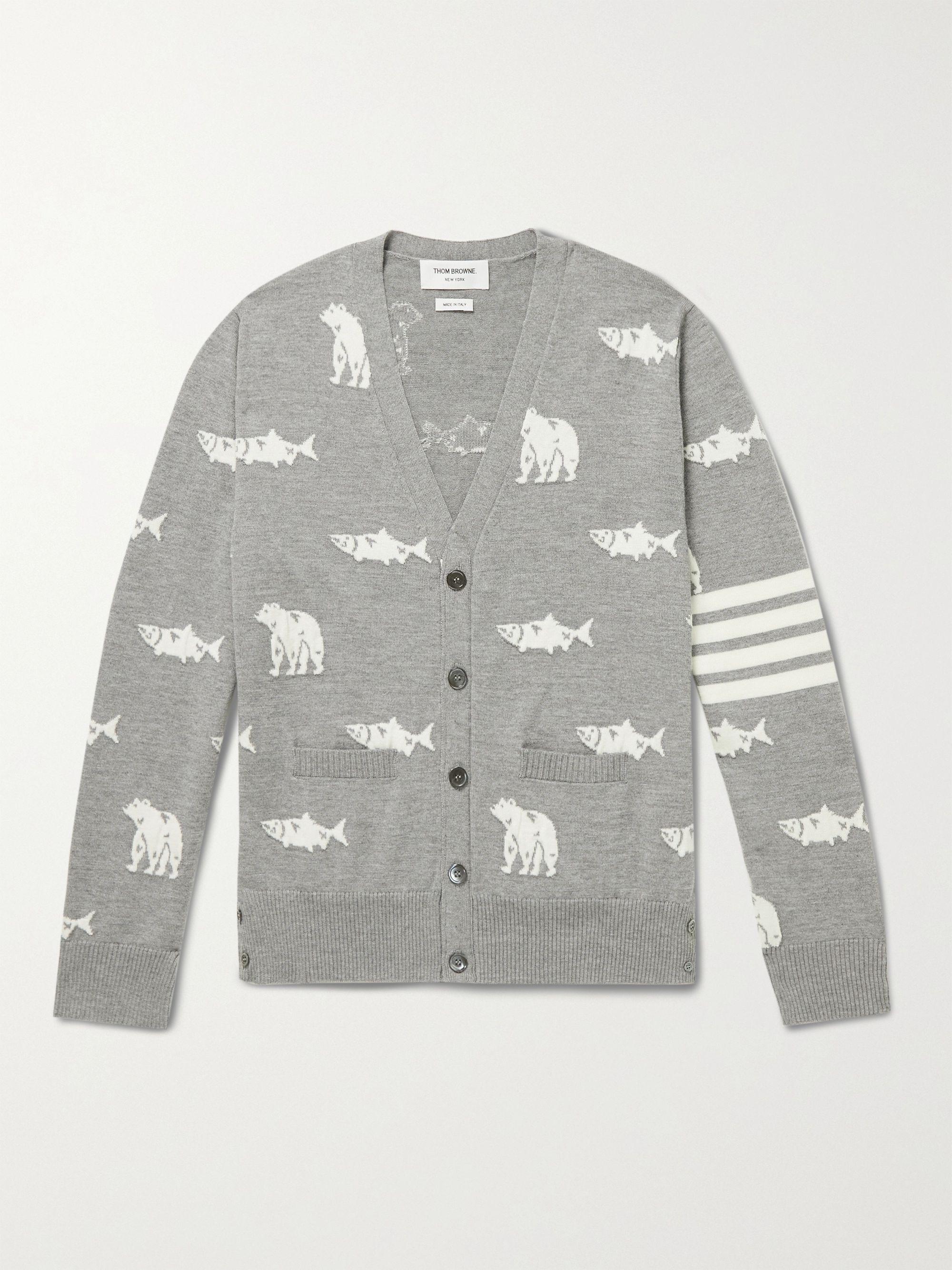 탐 브라운 메리노 울 가디건 Thom Browne Striped Intarsia Merino Wool Cardigan,Gray