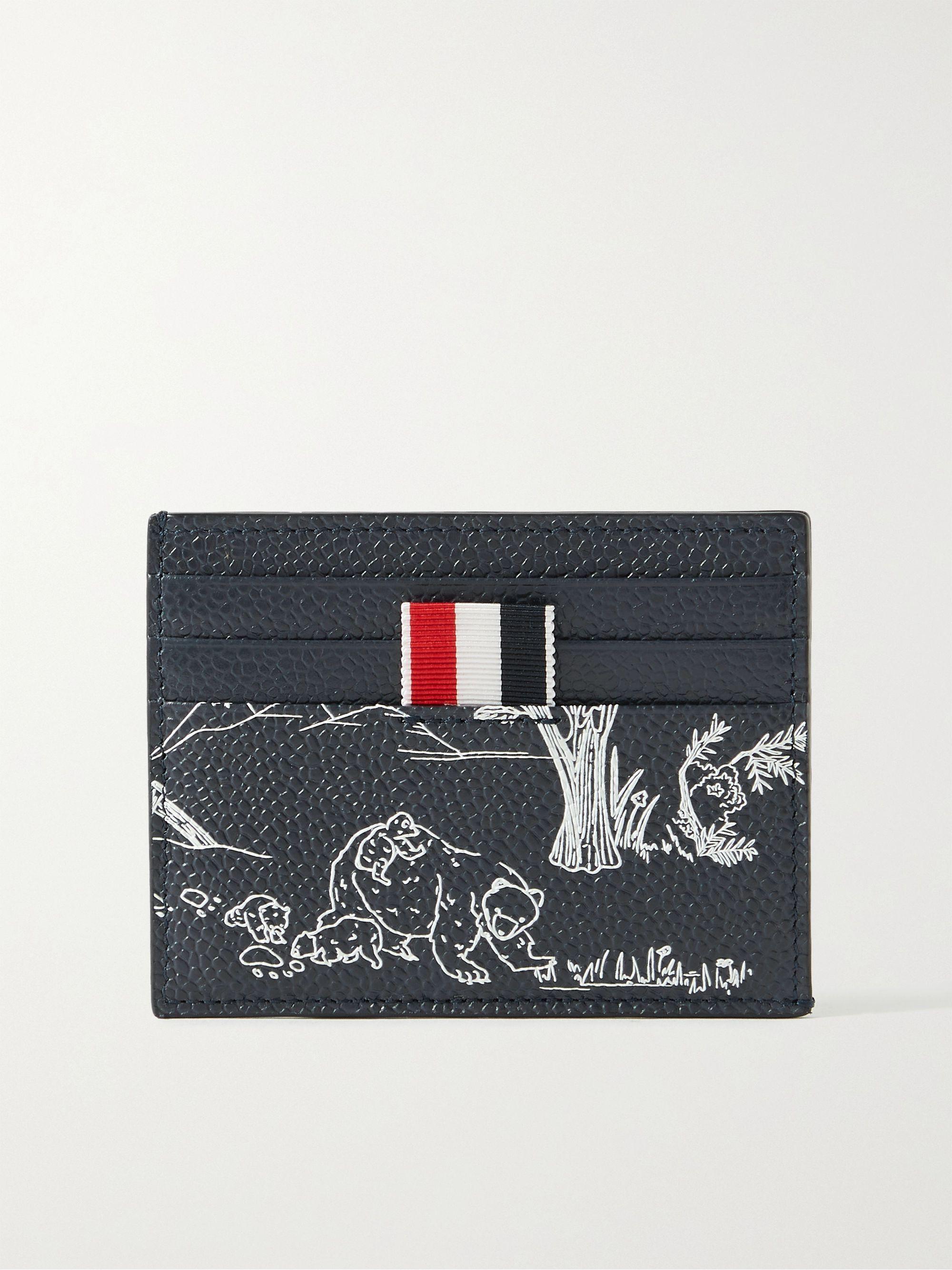 톰 브라운 카드 지갑 Thom Browne Striped Grosgrain-Trimmed Printed Pebble-Grain Leather Cardholder,Navy
