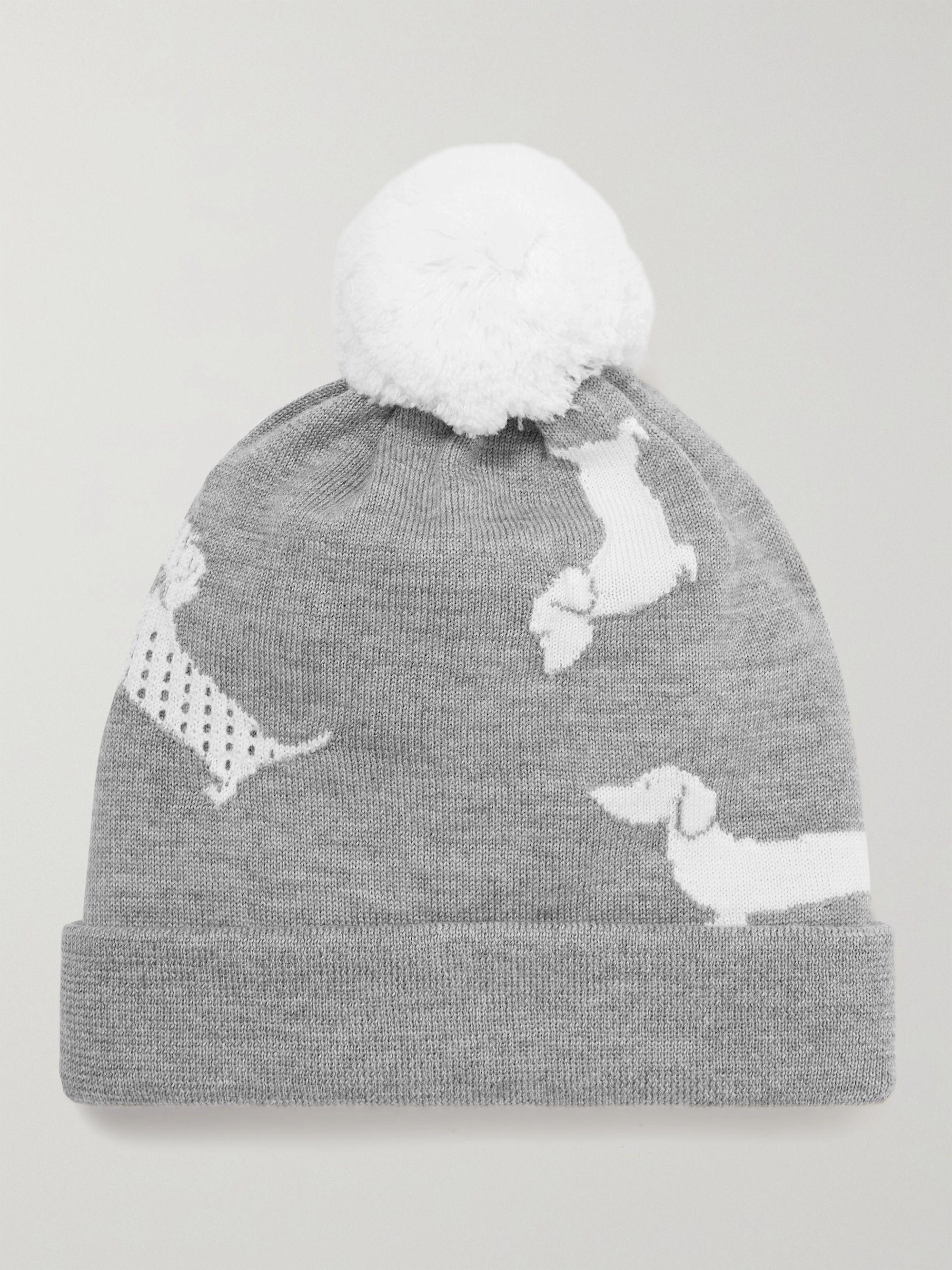 탐 브라운 메리노 울 비니 Thom Browne Hector Icon Intarsia Merino Wool Beanie,Gray